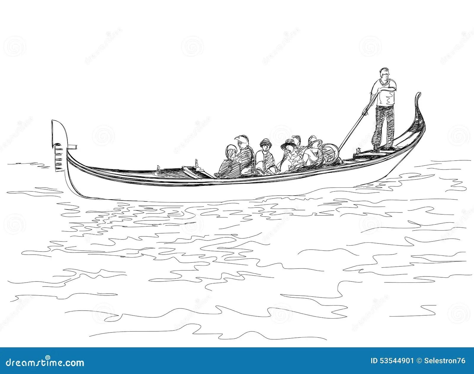 Venice Italy The Gondola With Tourist Stock Vector