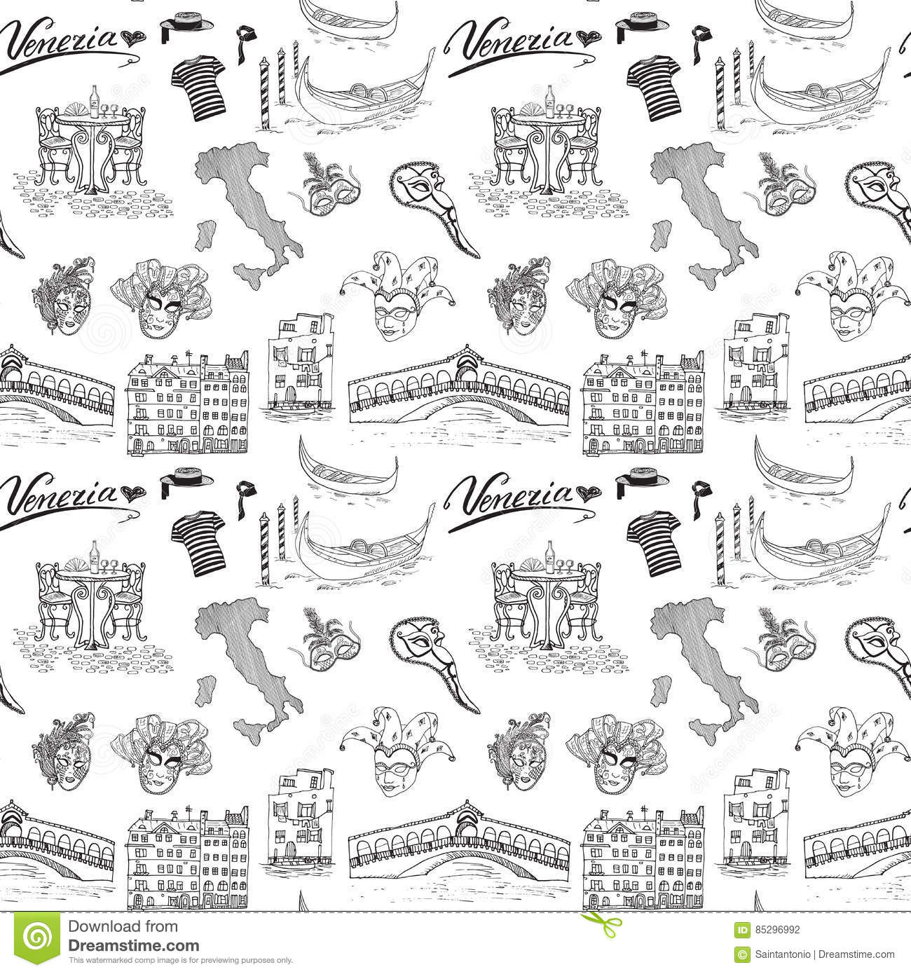Venice Italy Seamless Pattern Hand Drawn Sketch With Map