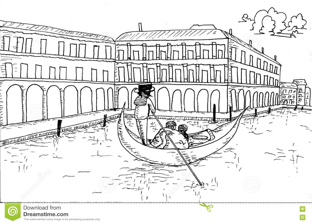 Venice Skyline With Gondola Hand Drawn For Coloring Book