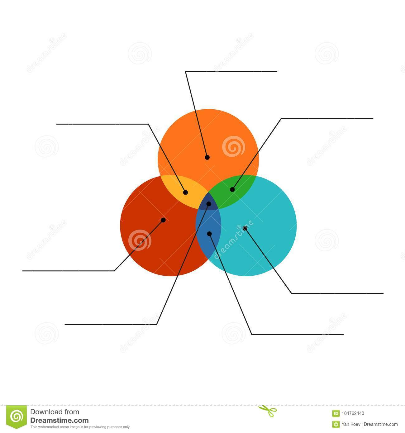 Venn Diagram Flat Style Color Infographics Template With