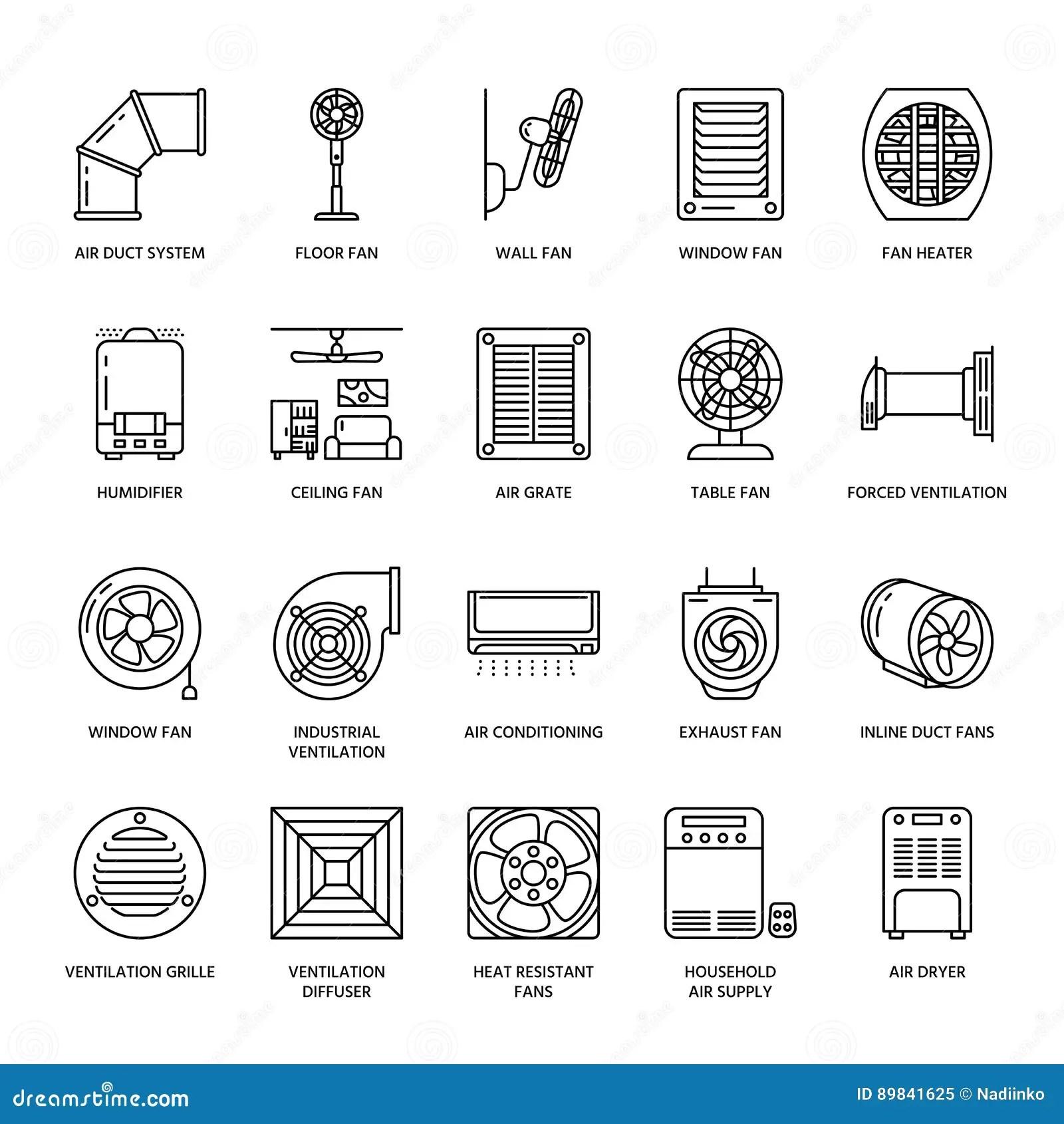 Ventilation Equipment Line Icons Air Conditioning
