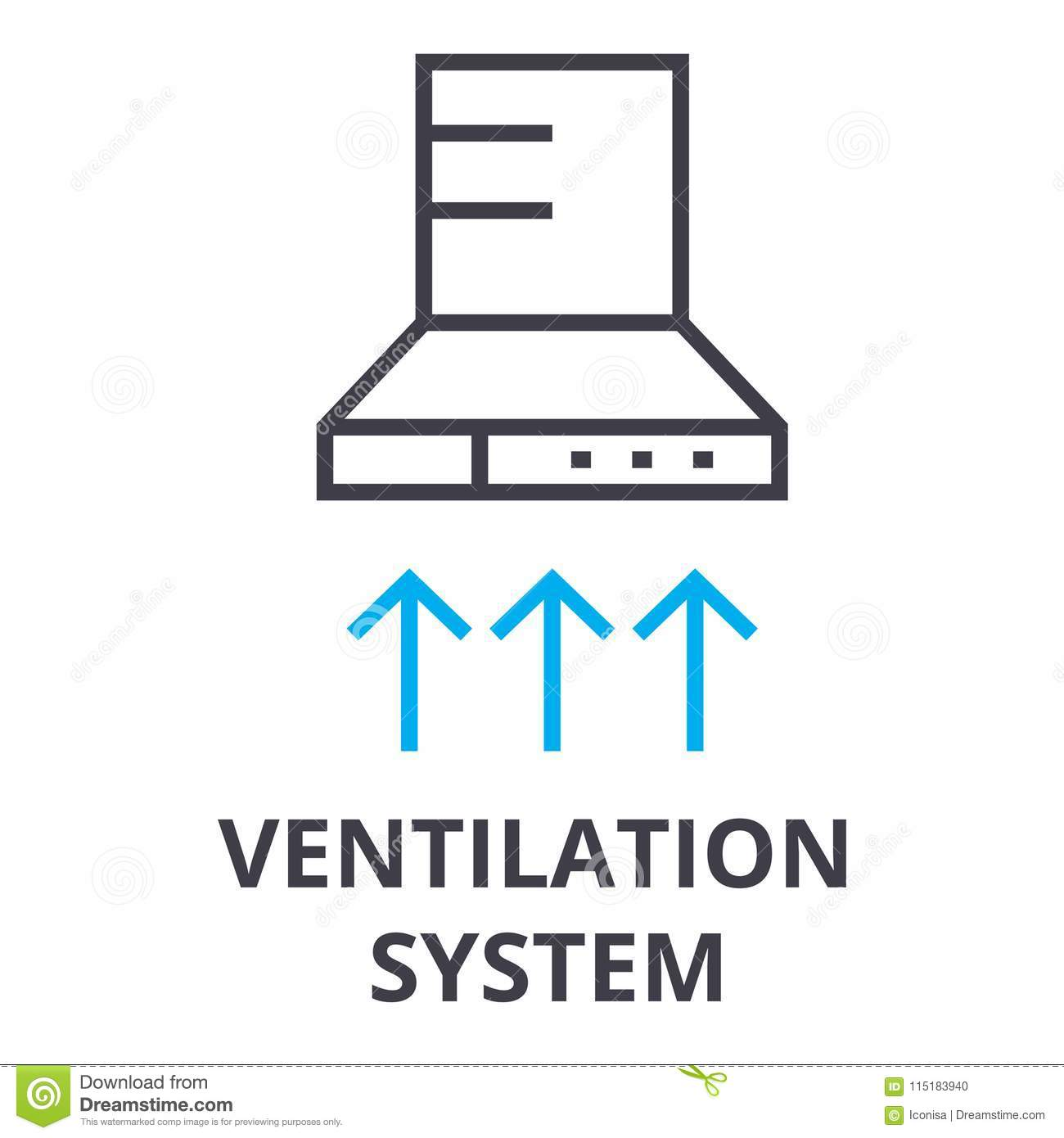 Ventilation System Thin Line Icon Sign Symbol