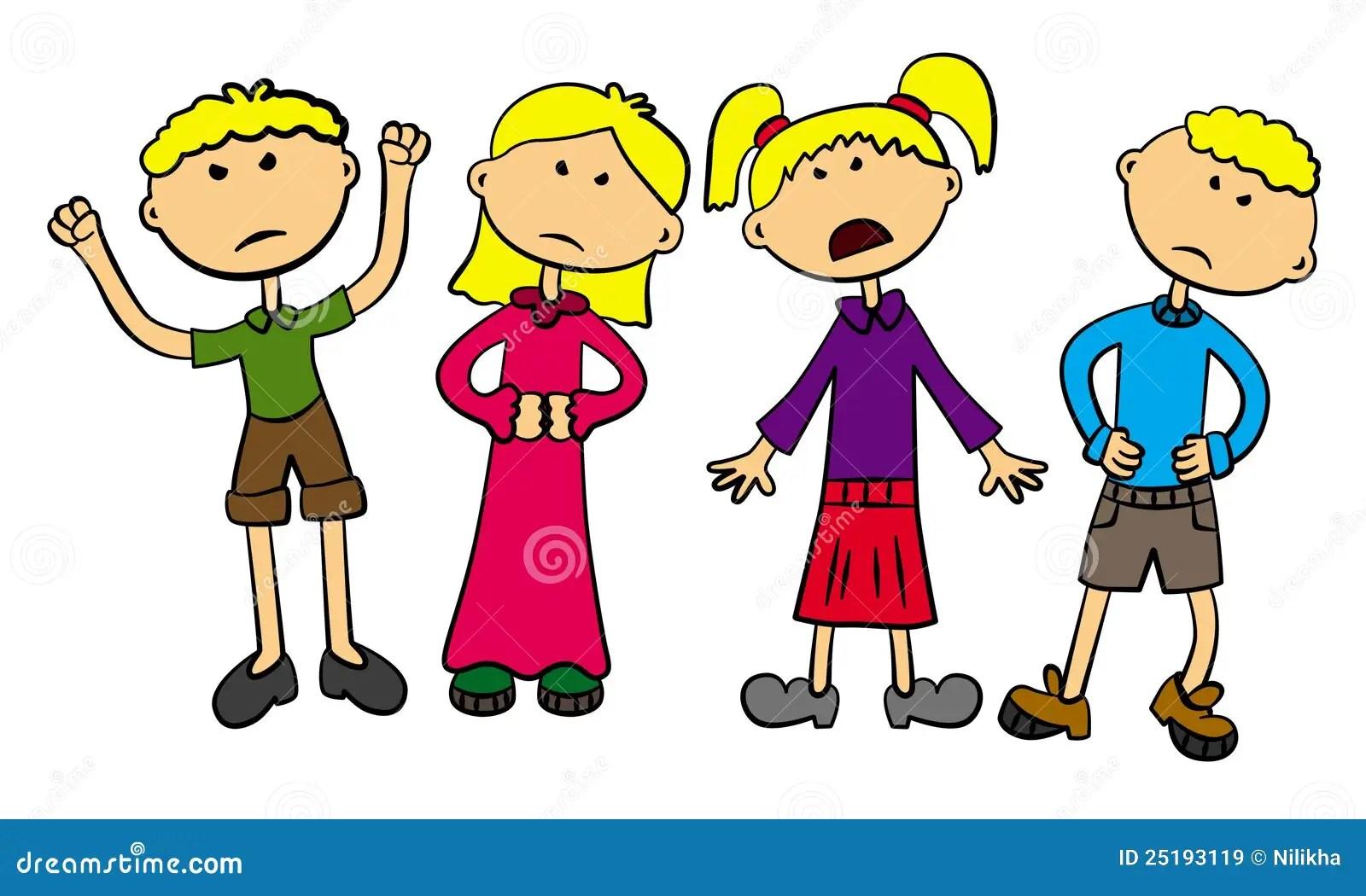 Verargerte Kinder Stock Abbildung Illustration Von Nett
