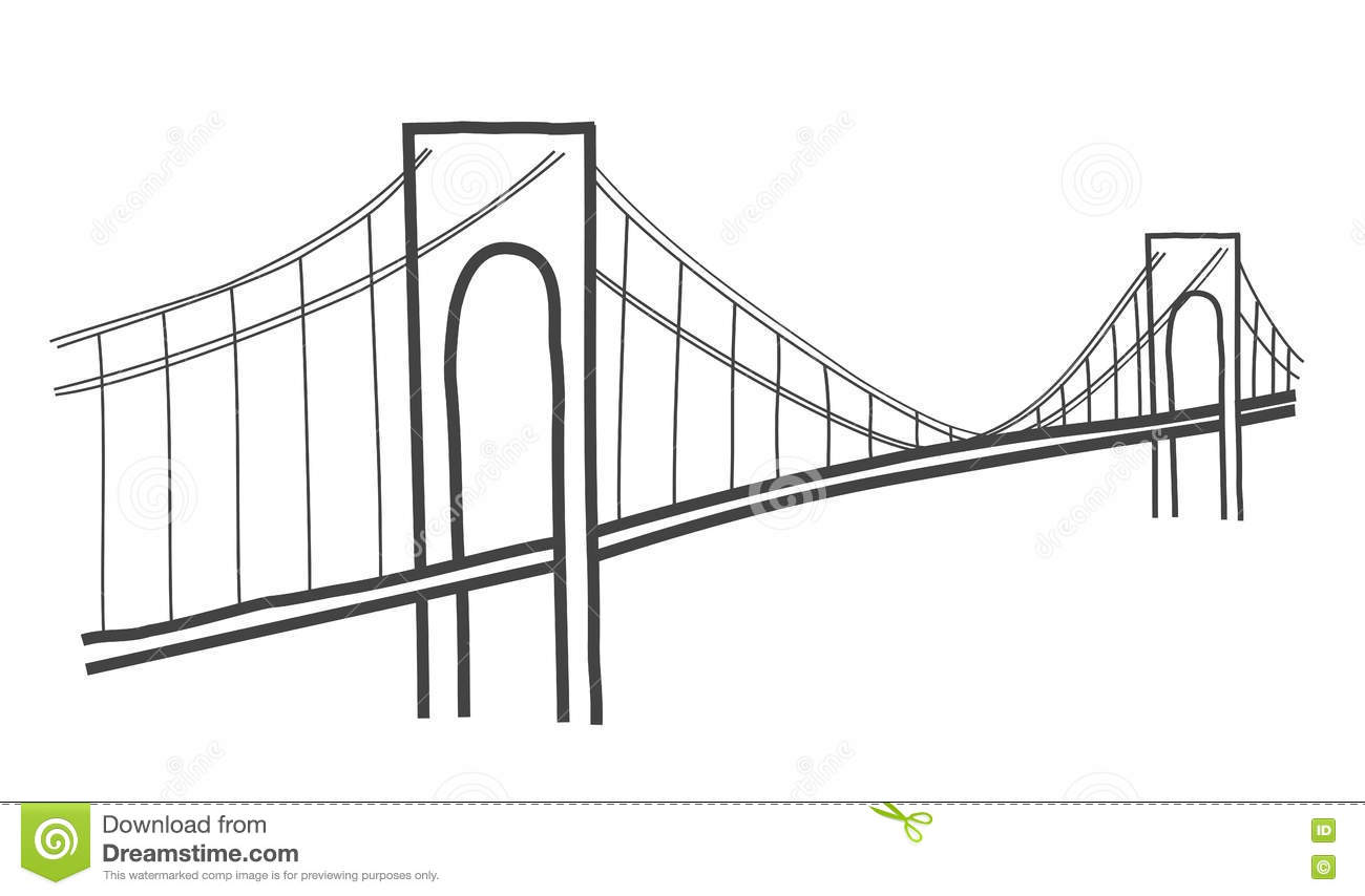 Verazzano Narrows Bridge Drawing Editorial Image