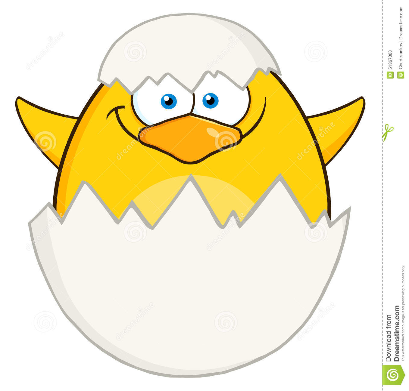 Verrassing Geel Chick Cartoon Character Out Of Een Ei