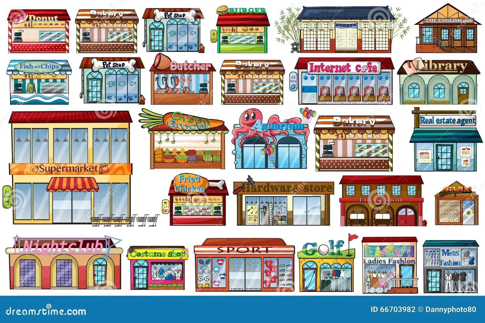 Verschillende Winkels En Gebouwen Vector Illustratie