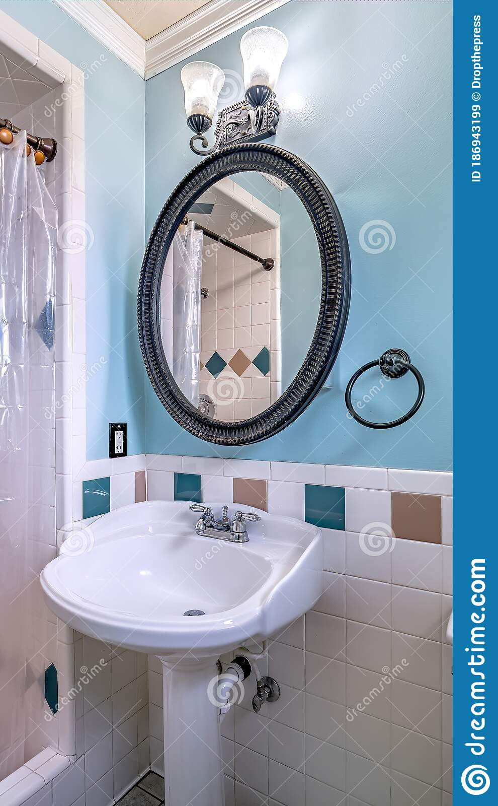 vertical frame free standing sink toilet and shower area with plastic curtain inside bathroom stock image image of tile lamp 186943199