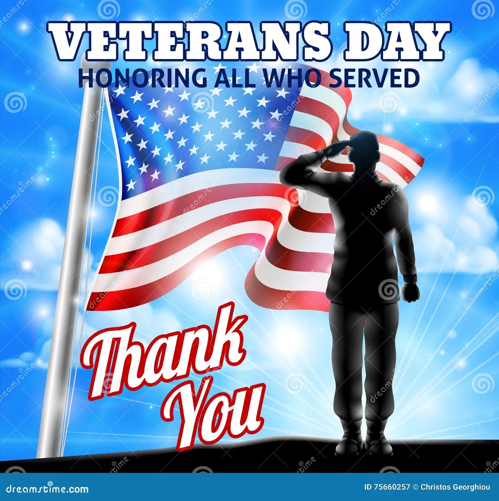 Veterans Day Silhouette Sol R Saluting American Flag