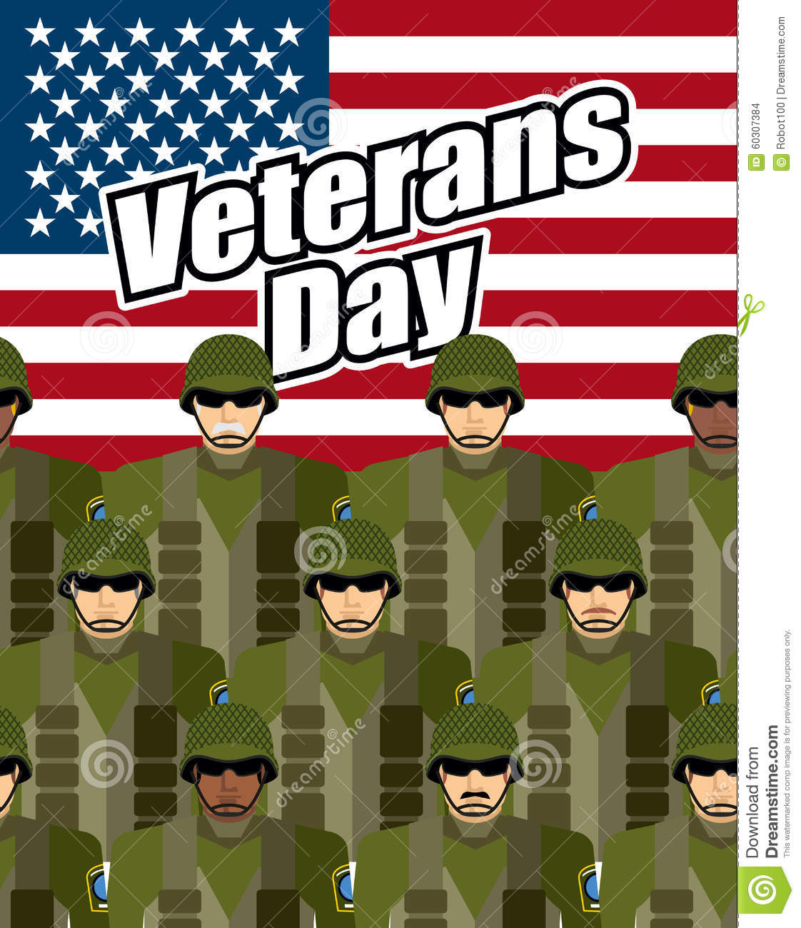 Veterans Day United States Military Against Backdrop Of