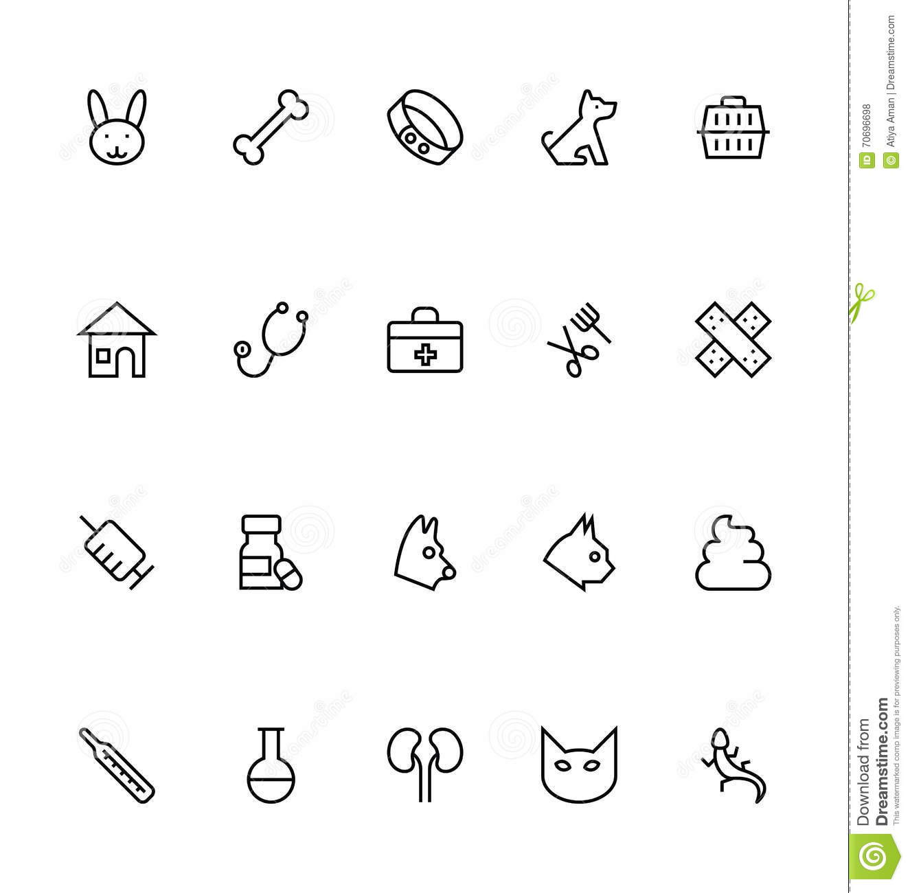 Veterinary Outline Vector Icons 1 Stock Illustration
