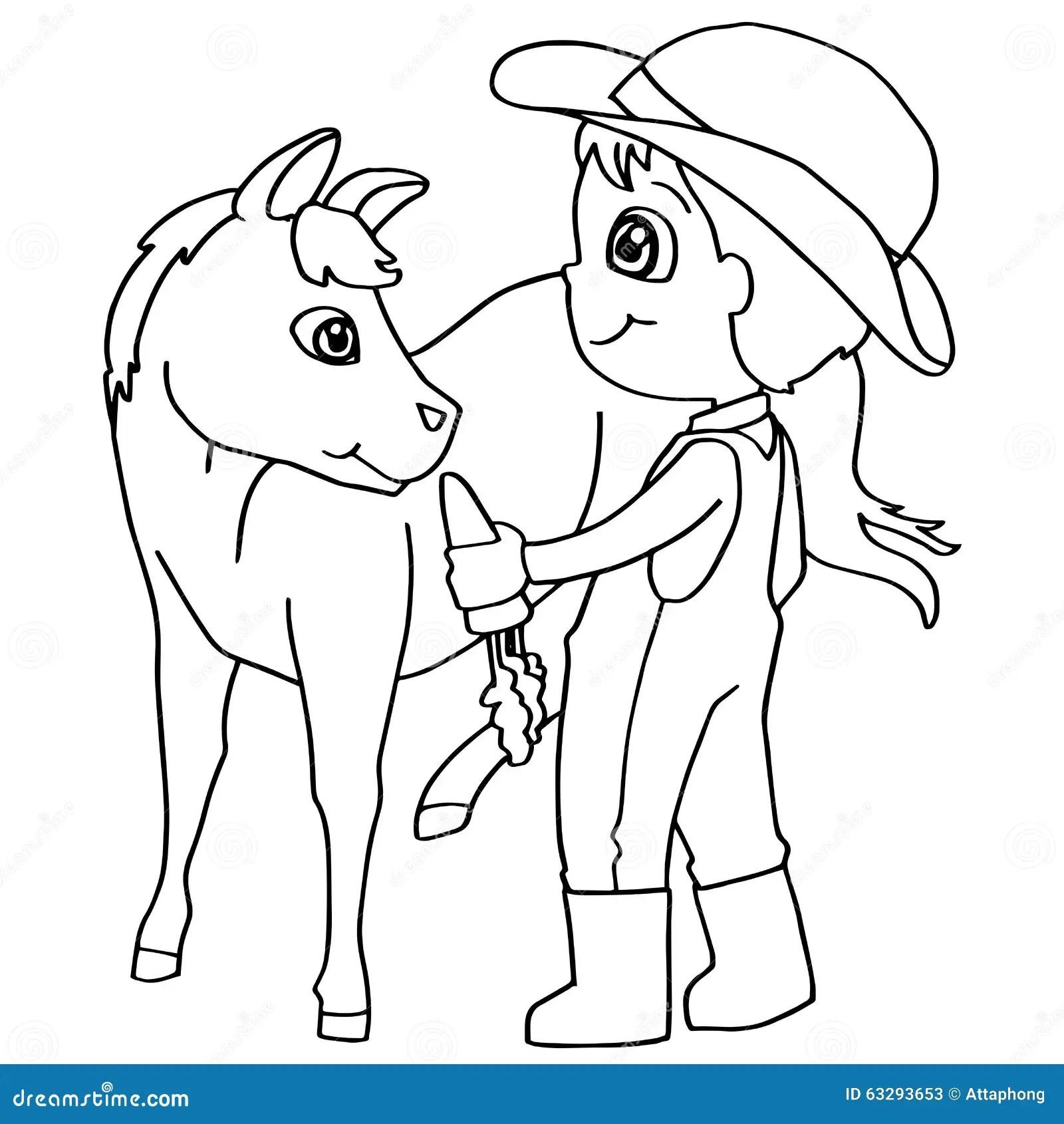 Vettore Del Cavallo Di Alimentazione Dei Bambini Del Libro