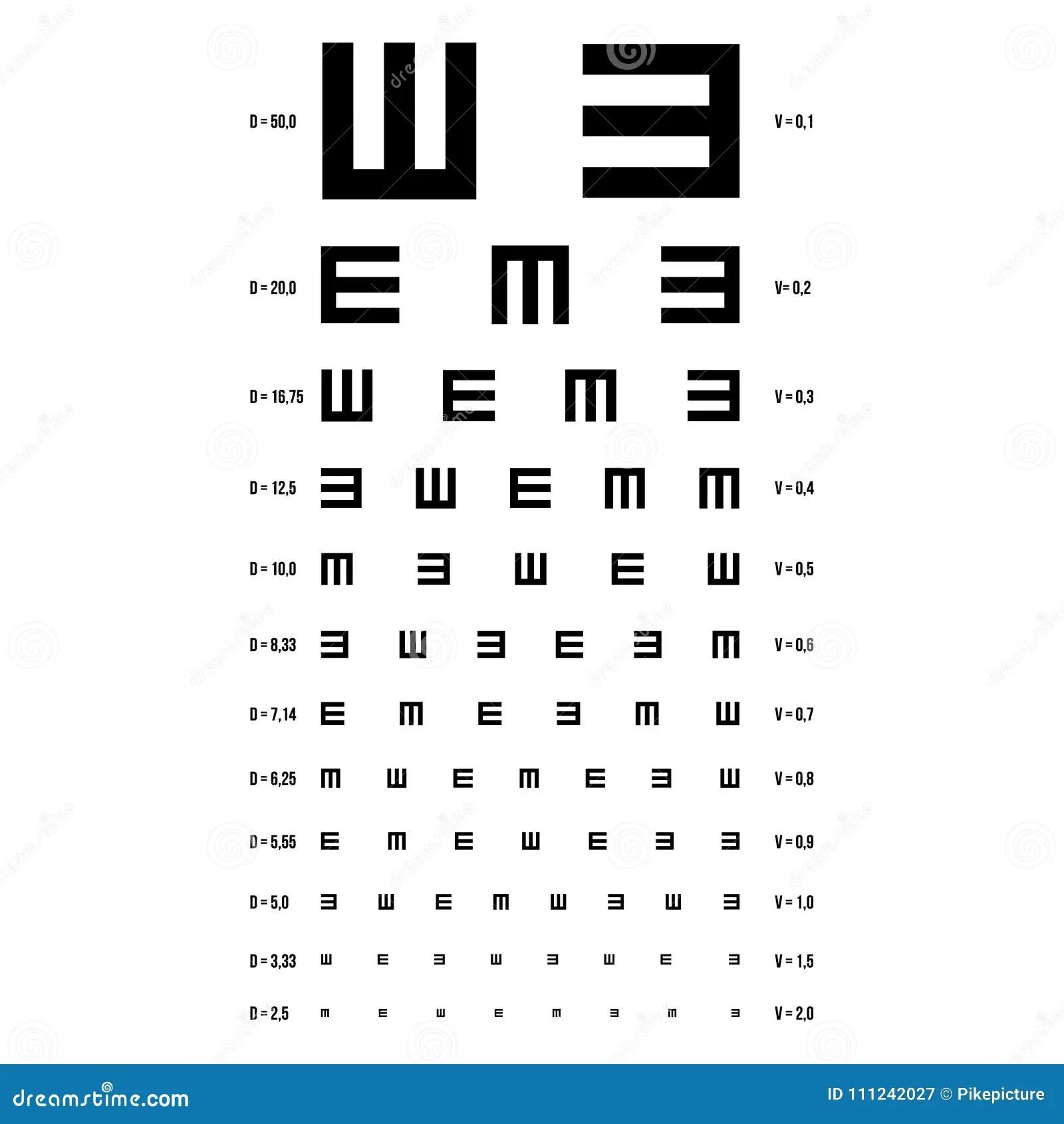 Vettore Del Grafico Di Prova Dell Occhio Grafico Di E