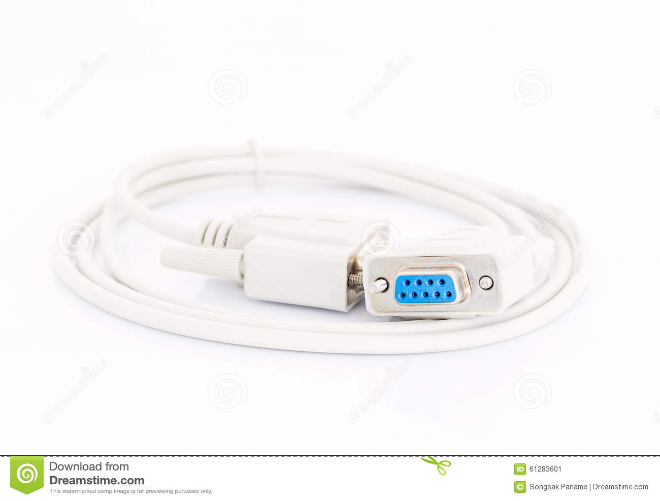 Vga Cables Connector With White Cord Stock Photo