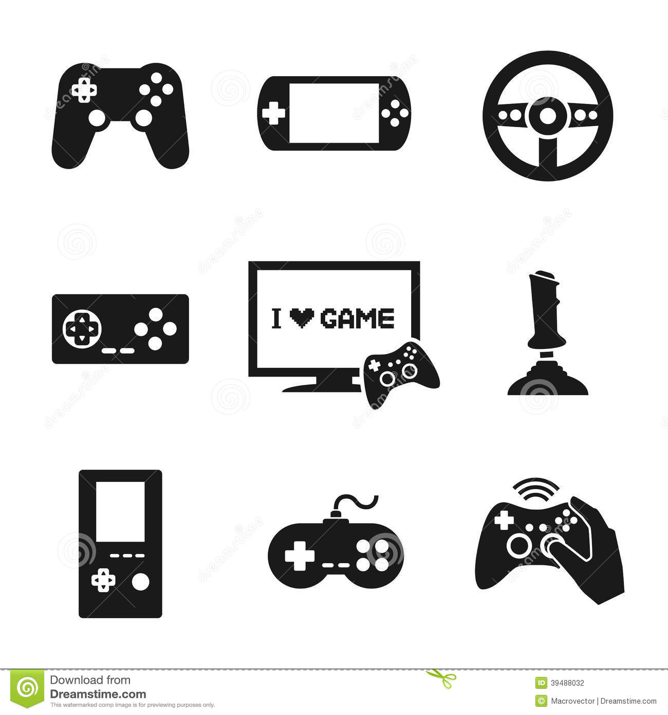 Video Games Controller Icons Set Stock Vector