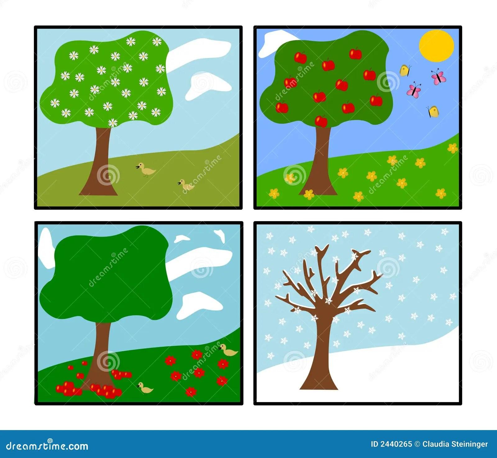 Vier Jahreszeiten Vektor Vektor Abbildung Illustration