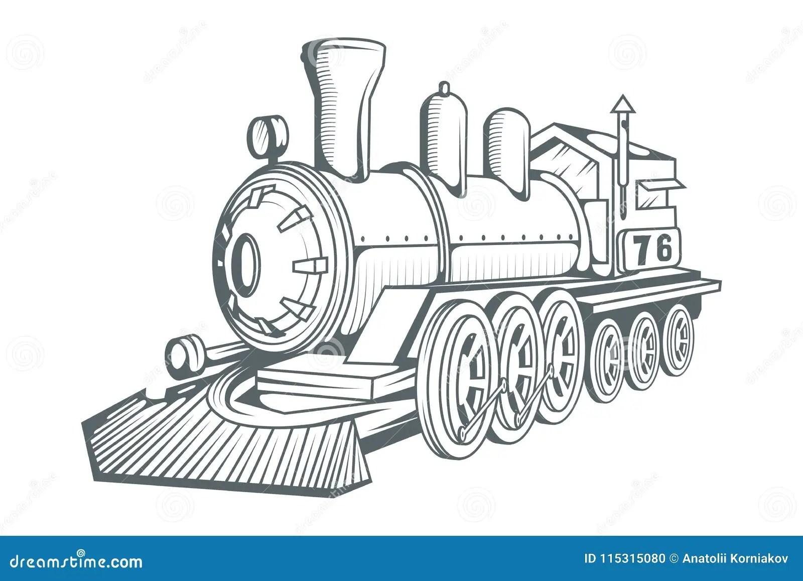 Vieux Logo De Train Dessin Locomotif Transport De Vapeur