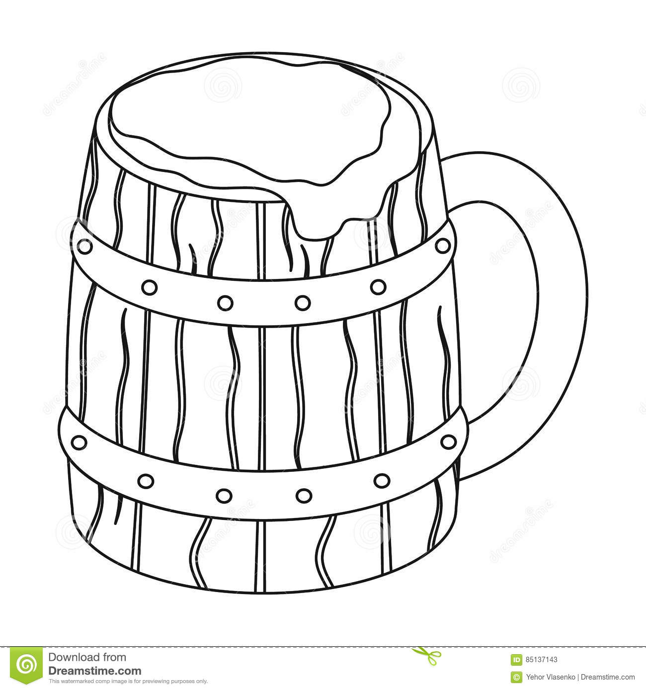 Viking Ale Icon In Outline Style Isolated On White
