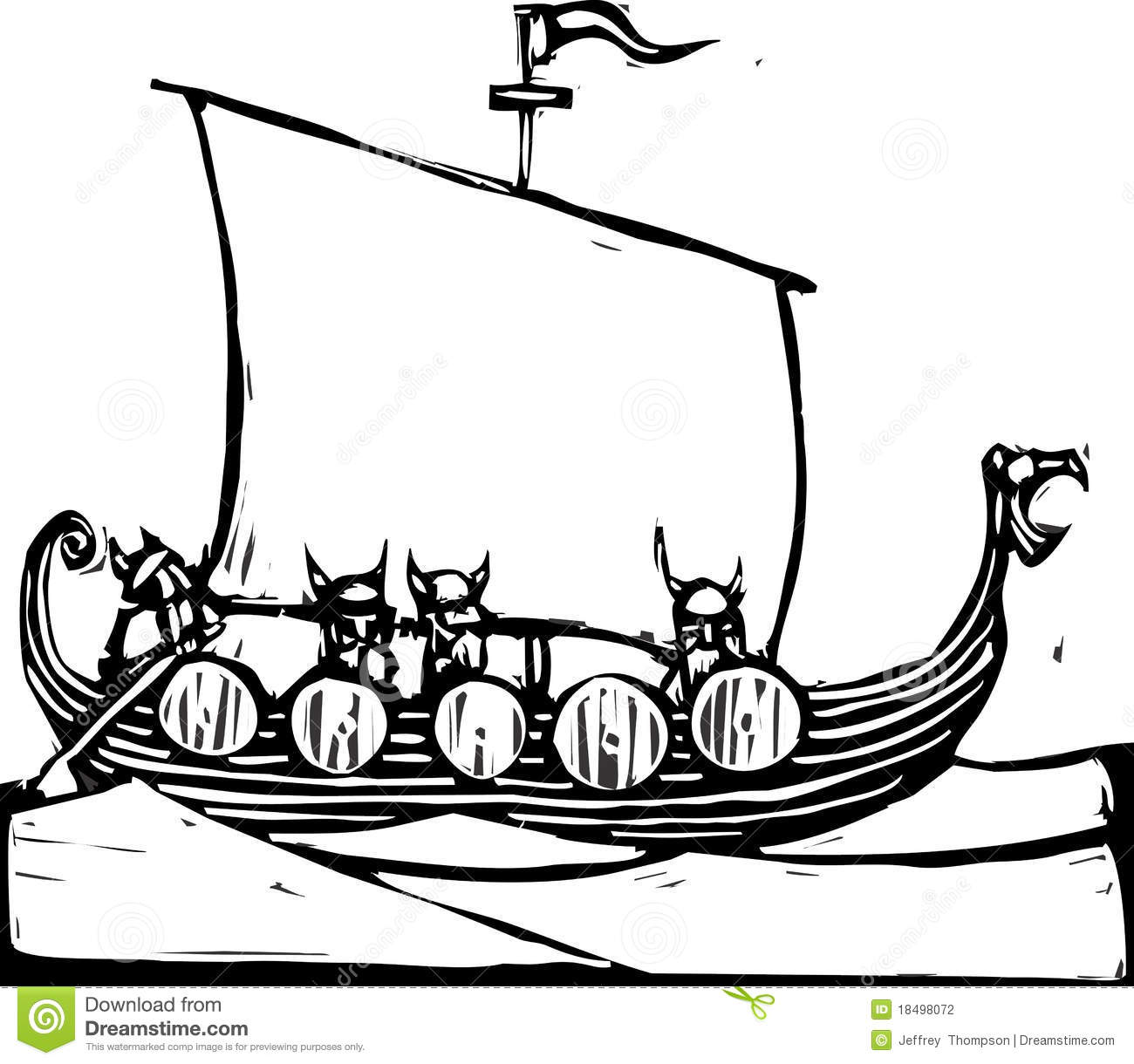 Viking Ship Stock Vector Illustration Of Viking Ocean
