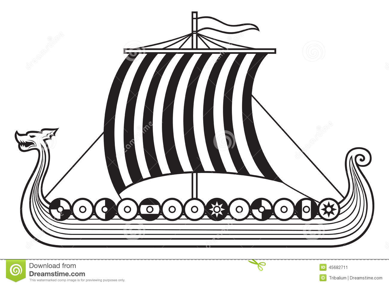 Viking Ship Stock Vector Illustration Of Cruise Norse