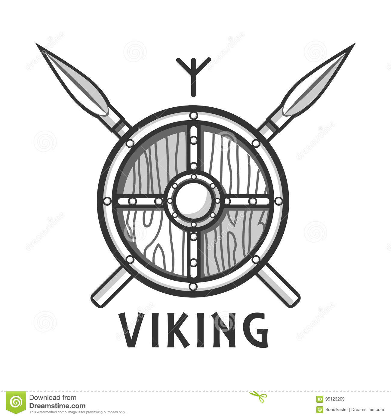 Vikings Shield With Two Crossed Spears And Small Rune