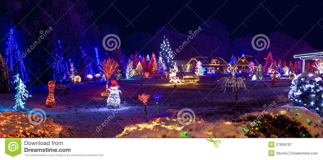 Village In Christmas Lights Panoramic View Royalty Free