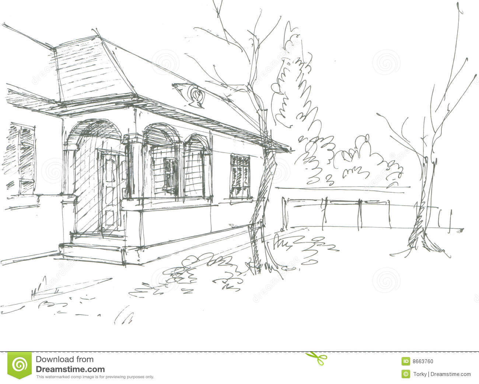Village House Sketch Stock Vector Illustration Of Black