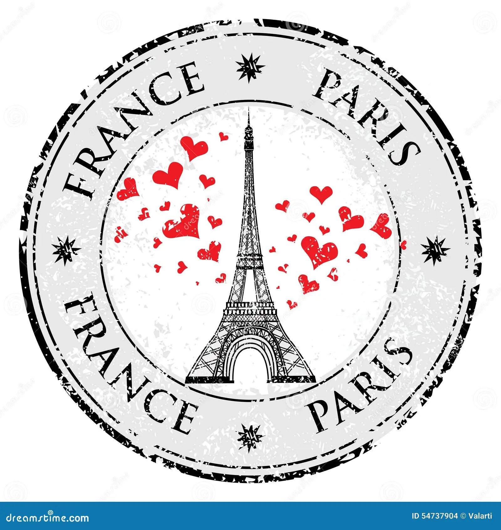Ville De Paris Au Coeur Grunge D Amour De Timbre De