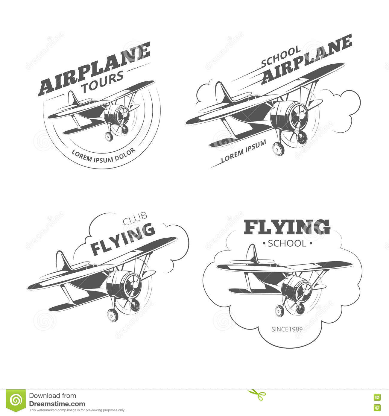 Set Of Vintage Style Flight Label Vector Logo Design