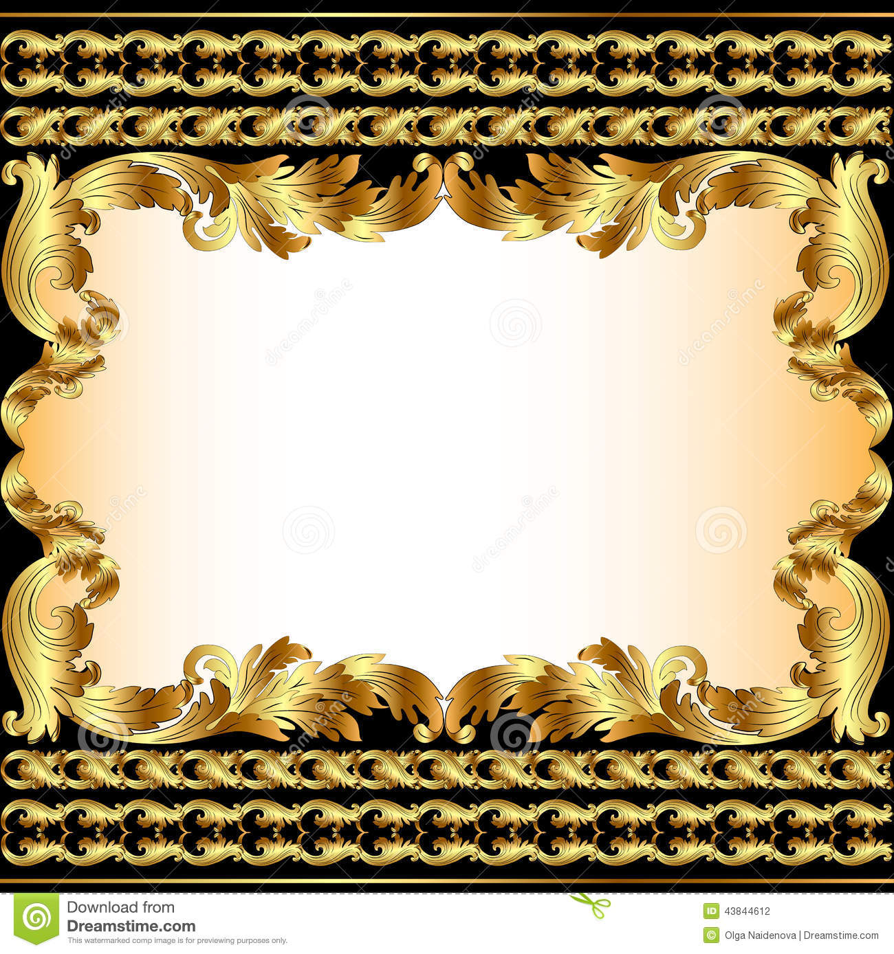 Vintage Background With Gold Pattern And Border Stock Vector Illustration Of Ornament