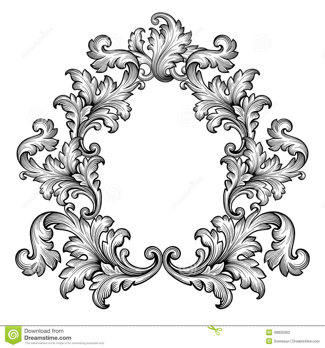 Vintage Baroque Frame Scroll Ornament Vector Vector