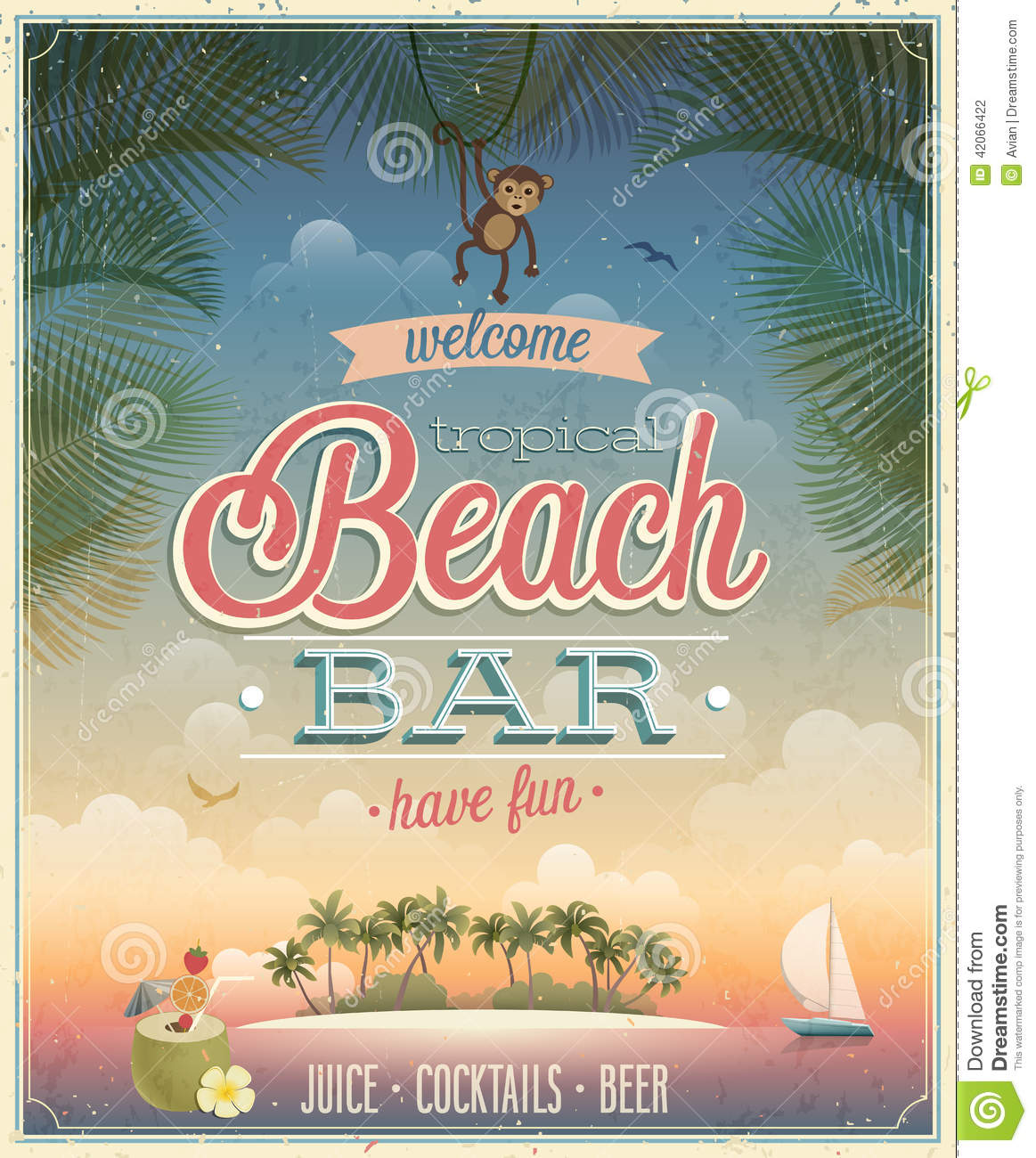 Vintage Beach Bar Poster Stock Vector Image 42066422