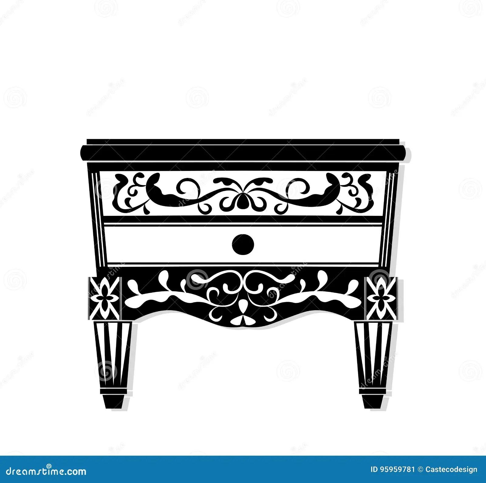 Vintage Black Furniture Vector Rich Carved Ornaments