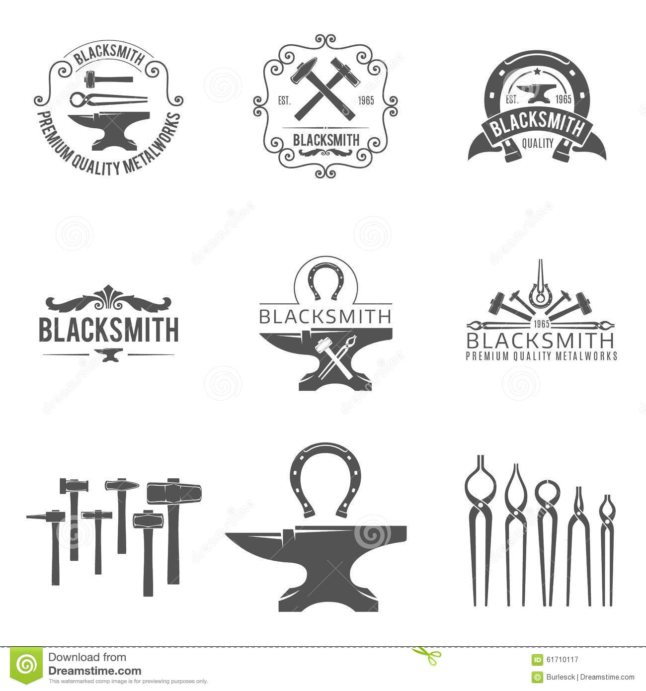 Vintage Blacksmith And Metalworks Logos Emblems Stock