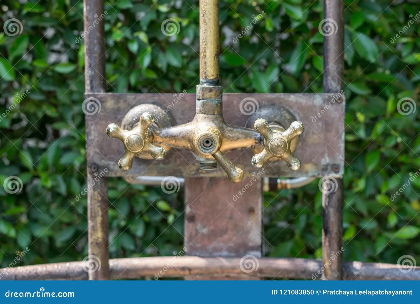 https www dreamstime com vintage bronze shower faucet hot cold water vintage bronze shower faucet hot cold water outdoor image121083850