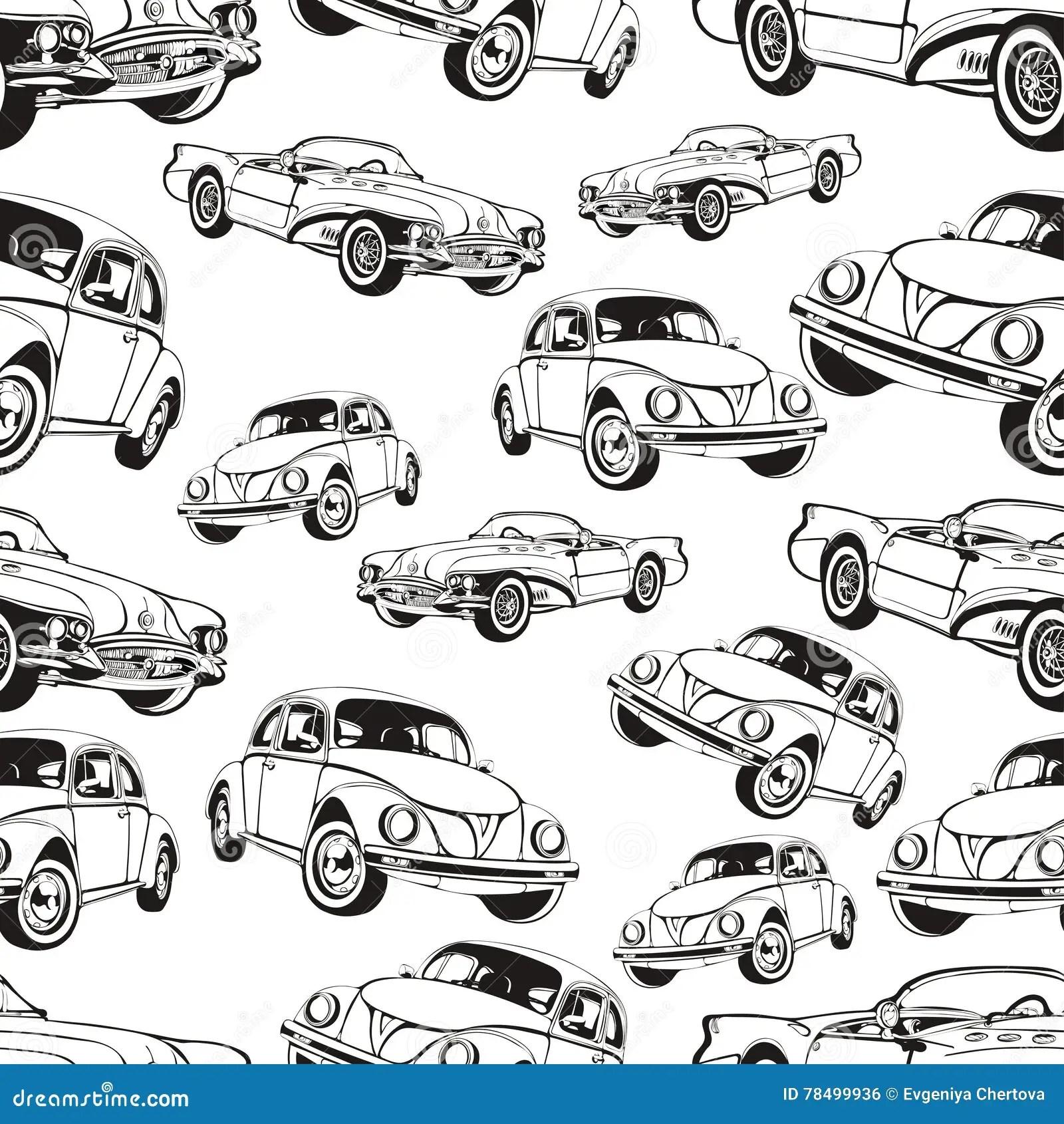 Vintage Car Seamless Pattern Black And White Retro