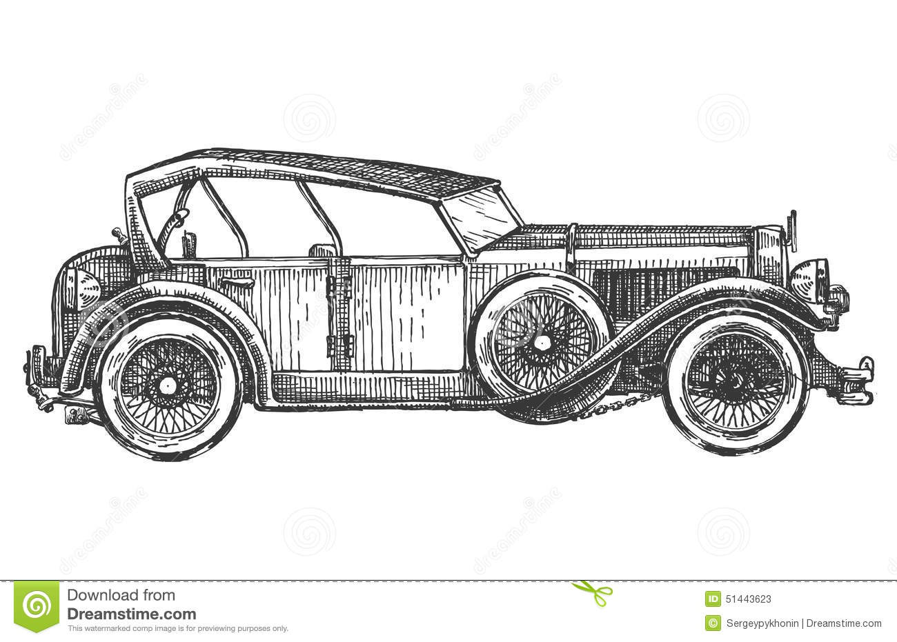 Vintage Car On A White Background Sketch Stock