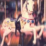 Vintage Carousel Horse Antique Style Carved Wood On An Old Amusement Merry Go Round Motion Blur Stock Photo Image Of Amusement Nursery 168717890