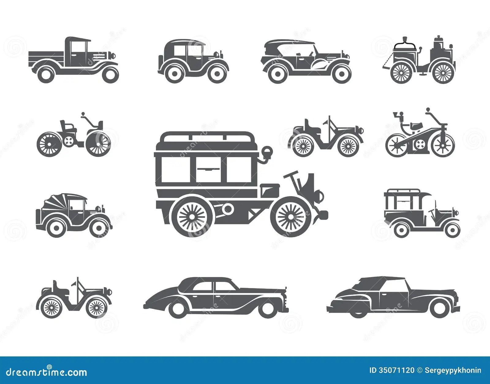 Vintage Cars Icons Set Stock Photo