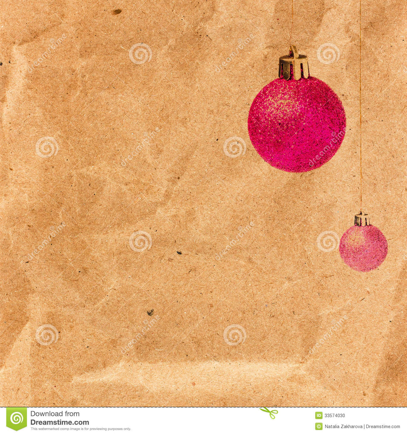Vintage Christmas Card With Glittering Balls On Old