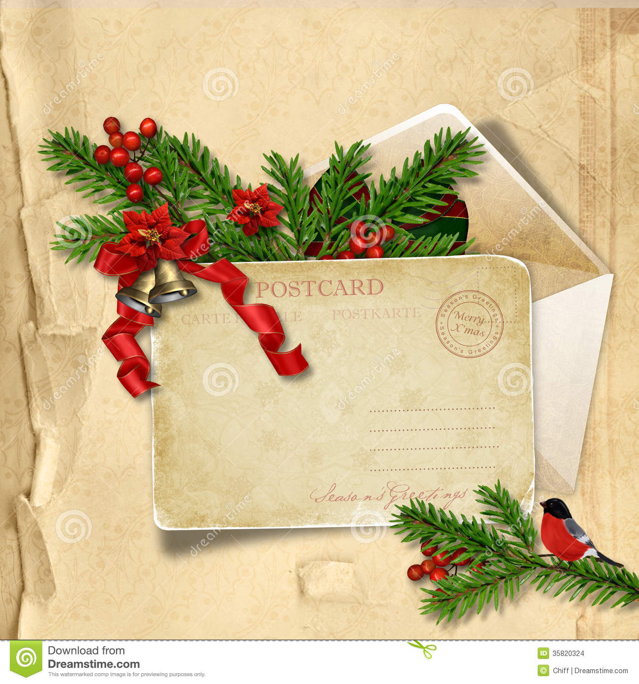 Vintage Christmas Postcard On Paper Background With Holly