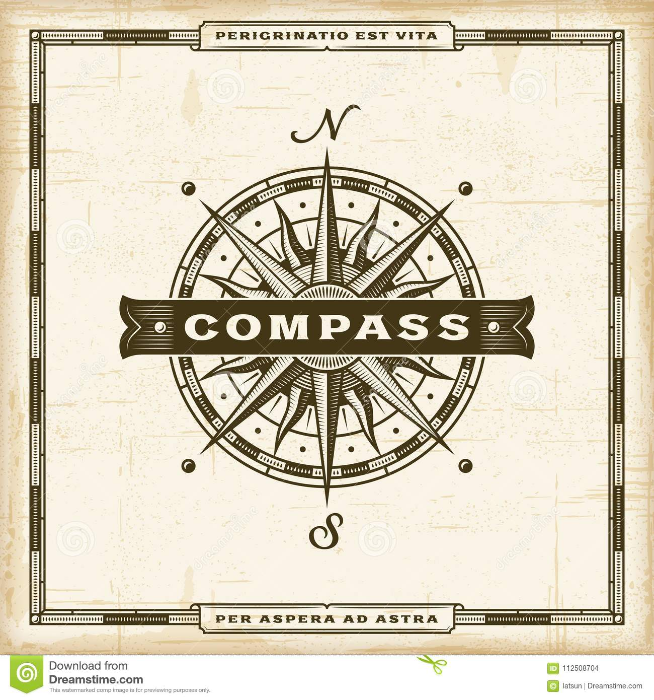 Vintage Compass Label Stock Vector Illustration Of