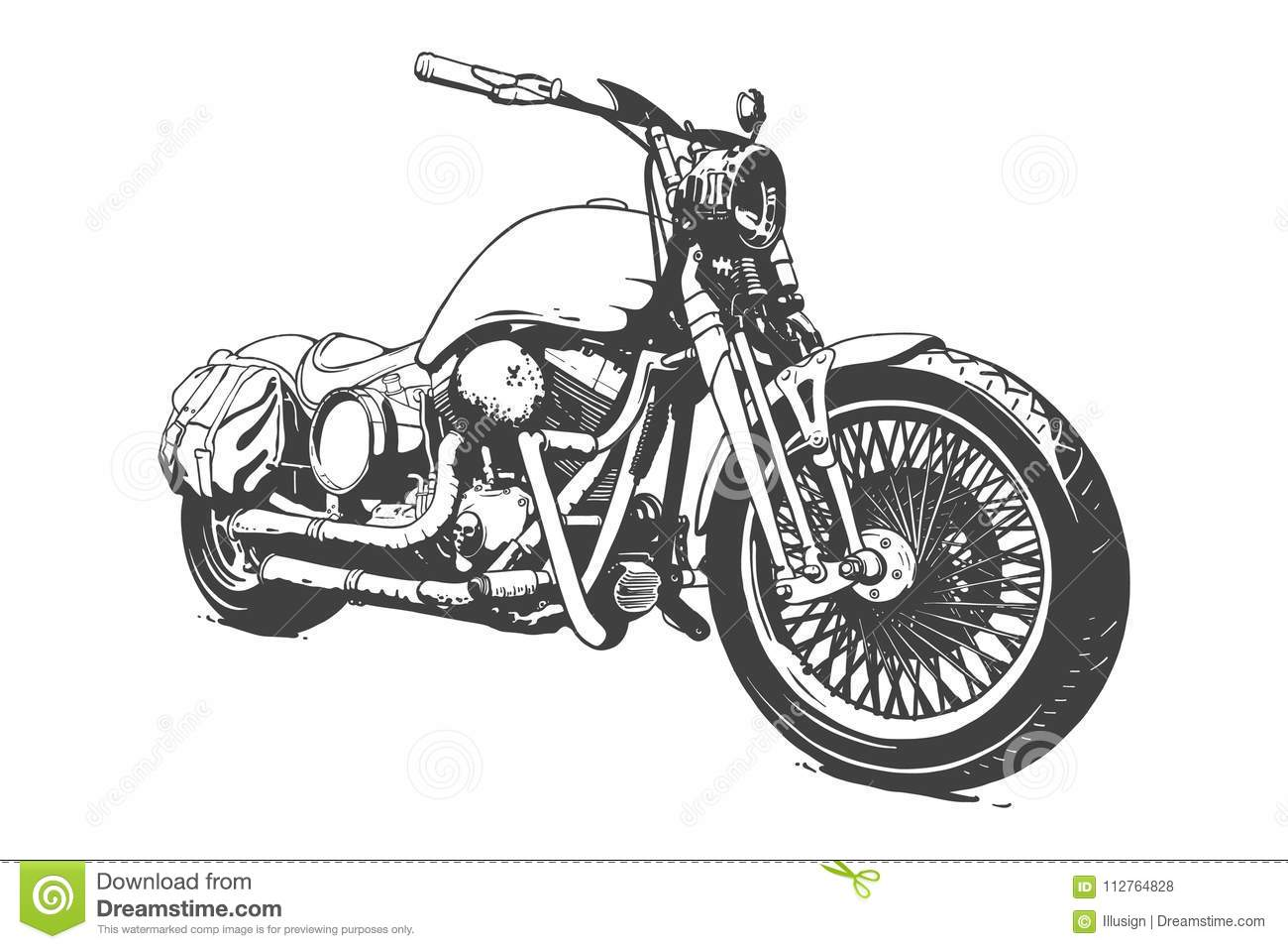 Vintage Custom Motorcicle Graphic Poster Illustration