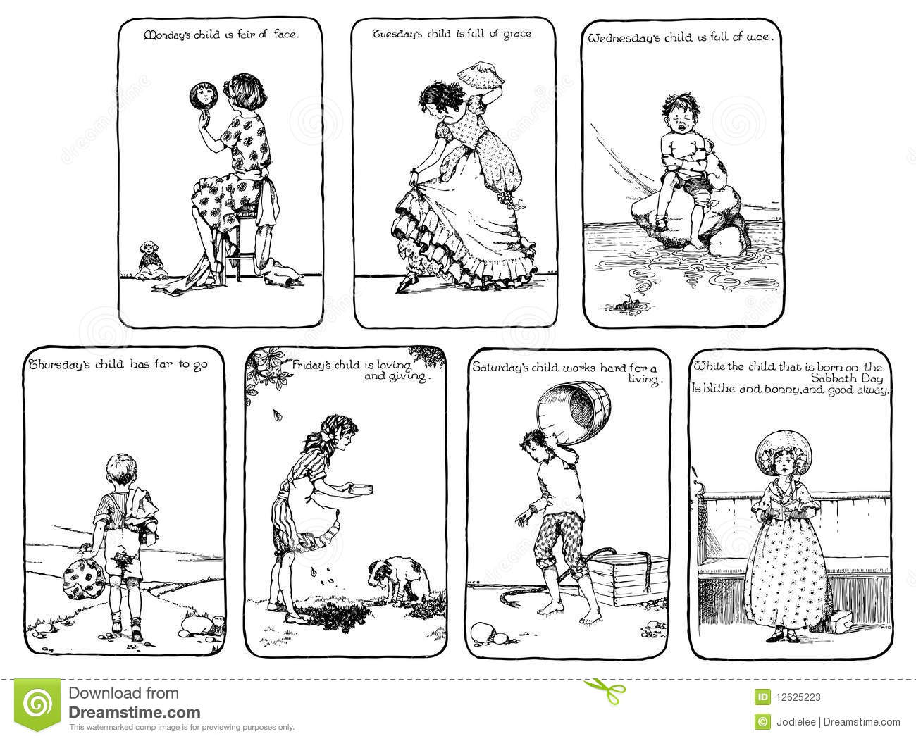 Vintage Days Of The Week Nursery Rhyme Stock Illustration