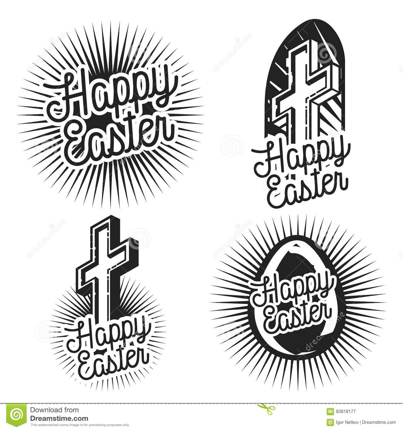 Vintage Easter Emblems Cartoon Vector