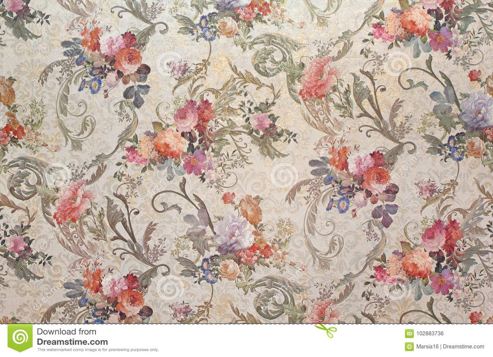 Vintage Floral Wallpaper Stock Photo Image Of Background 102883736