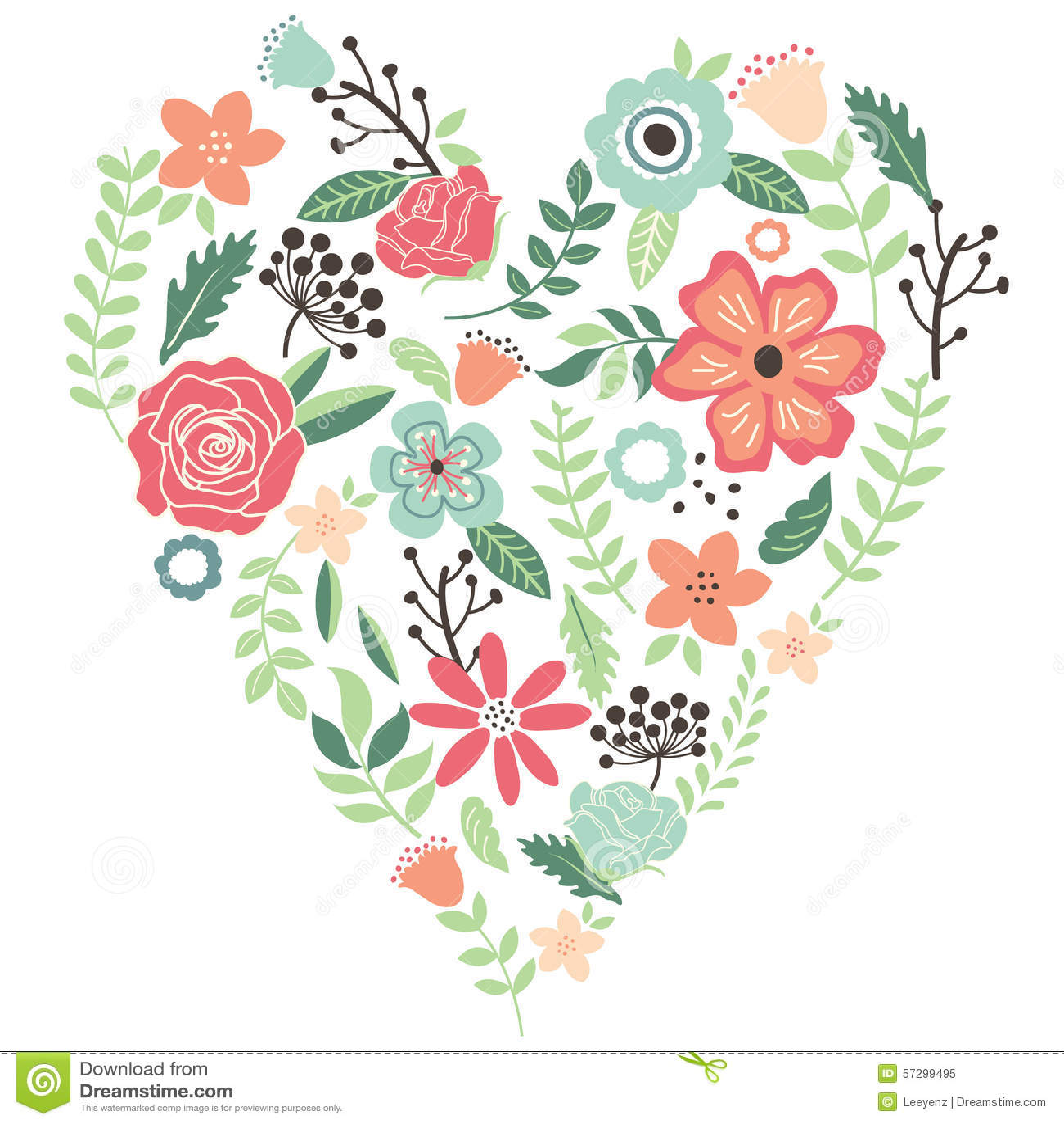 Vintage Flowers Wedding Heart Stock Vector
