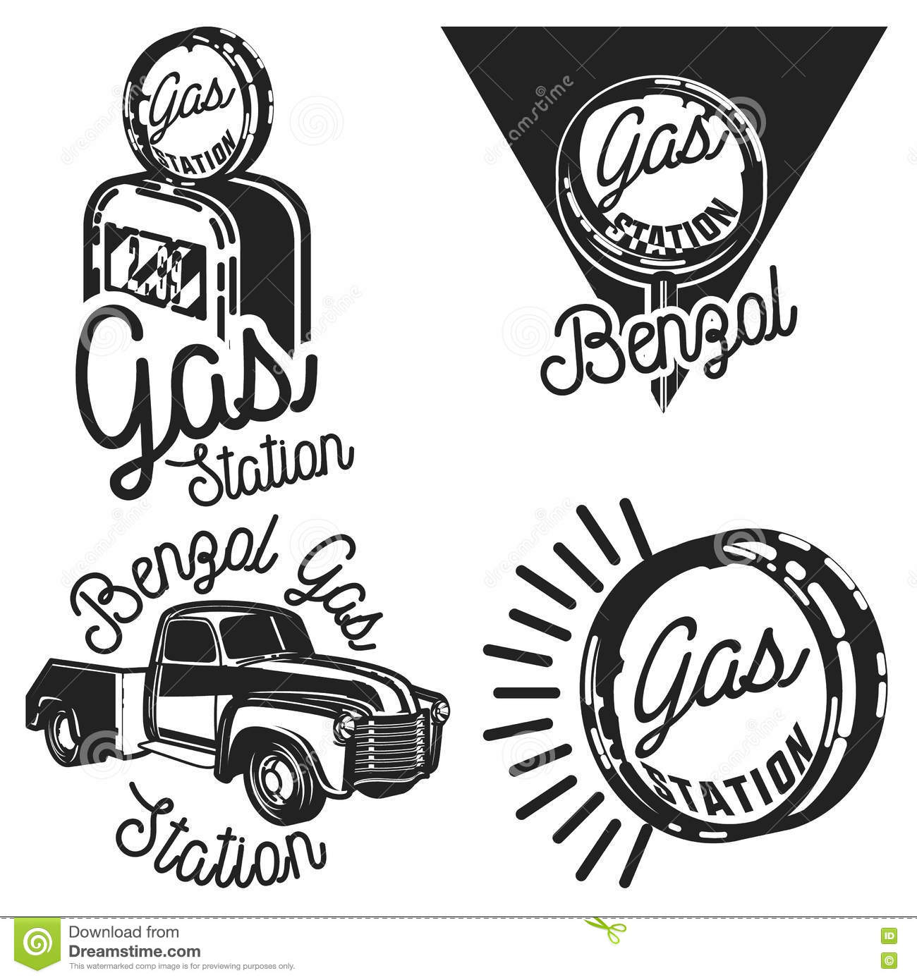 Vintage Gas Station Emblems Stock Vector