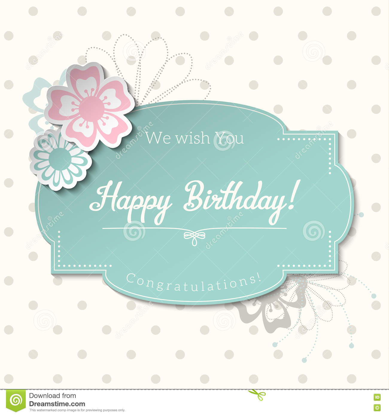 Vintage Greeting Card In Shabby Chic Style With Text Happy Birthday Illustration Stock Vector Illustration Of Celebrate Beige 72341079