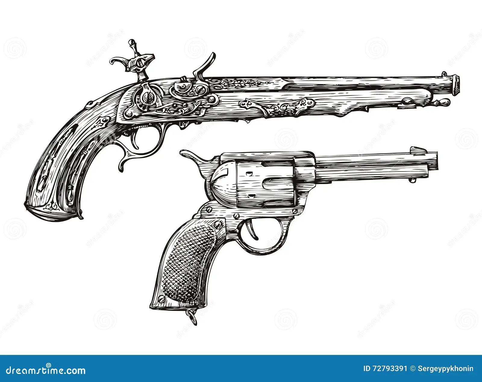 Vintage Gun Retro Pistol Musket Hand Drawn Sketch Of A