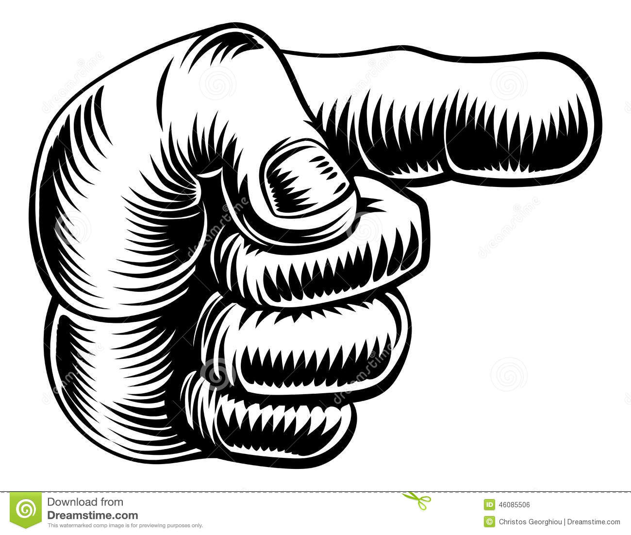 Vintage Hand Pointing Finger Stock Vector